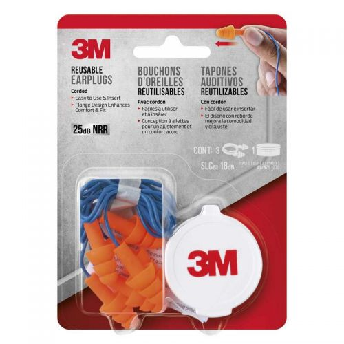 3M Reusable Ear Plugs 3 Pack with cord