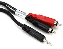 6ft Stereo Breakout Cable 3.5mm to dual 1/4' TS